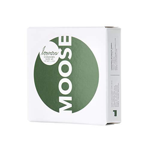 Loovara 3 Preservativi Vegan su Misura - Profilattici Lubrificanti Taglia 69 - Taglia Moose - Preservativi Sottili in Gomma Etica - Più Divertimento e Sensibilità Durante il Sesso