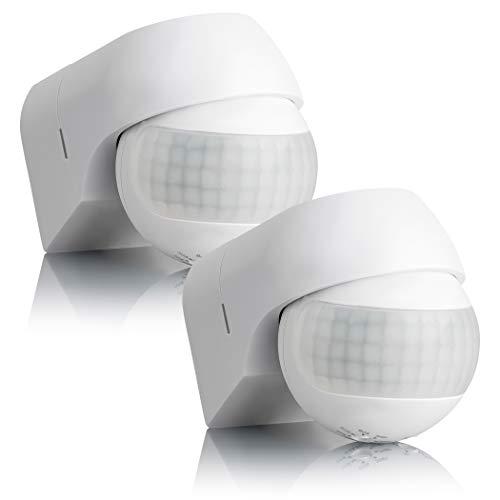 SEBSON 2x Rilevatore di Movimento Esterno IP44, Montaggio a Parete, LED adatto, programmabile, Sensore Infrarossi, orientabile, Portata 12m / 180°