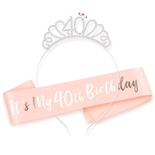 HOWAF Buon 40 Anni Compleanno Fascia e Compleanno 40 Anni Tiara cerchietti per Oro Rosa 40 Anni Compleanno Decorazioni Donna Regalo di Compleanno