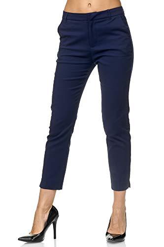 Elara Pantaloni da Donna Chino Chic Slim Fit Chunkyrayan Blu Scuro VS19001-3 Dk.Blue-36 (S)