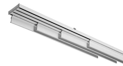 Binario Sistema Bastone per Tende A Pannelli Interamente in Alluminio Bianco Movimento A Corda, 4 Pannelli, Varie Misure (240 CM)
