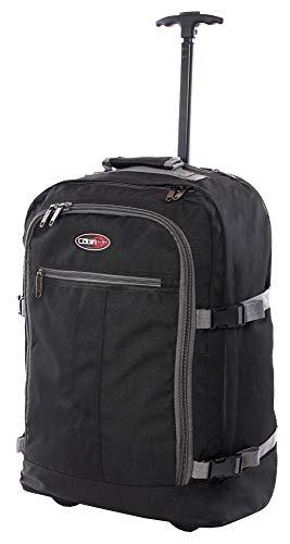 CABIN GO cod. MAX 5520 trolley - Zaino bagaglio a mano/cabina da viaggio leggero. - 55 x 40 x 20 cm, 44 litri - con ruote. Approvato volo IATA/EasyJet/Ryanair (Nero/Grigio)