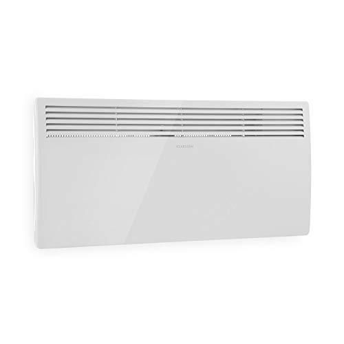 KLARSTEIN Hot Spot Slimcurve - Stufa a Parete, Riscaldatore con Termostato, Stanze Fino a 40 m², 80 x 40 cm, 1000/2000 Watt, Temperatura Impostabile da 5 a 40 °C, Bianco
