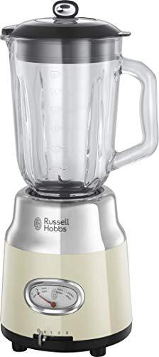 Russell Hobbs Frullatore Retro 25192-56 3 velocità, modalità Pulse - Bicchiere in Vetro da 1.5L - 800w - Crema