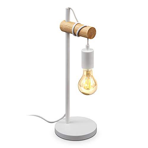 B.K.Licht, Lampada da tavolo in metallo bianco e legno, lampadina E27 non inclusa, lampada da comodino vintage, lampada da scrivania dal design industriale, ideale per ambienti rustici e moderni, IP20