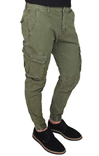Evoga Pantaloni Uomo Cargo Verde Militare Slim Fit Jeans con tasconi Laterali (46, Verde)