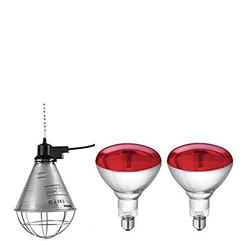 Motisi Zootecnici Nr.2 Lampade da 150 Watt ad infrarossi + Nr.1 riflettore portalampada in Alluminio con griglia Protezione e Catena per Il Fissaggio del Porta Lampada