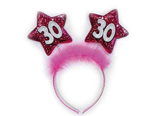CERCHIETTO 30 ANNI STELLE FUXIA Gadget idea regalo scherzo per festa compleanno