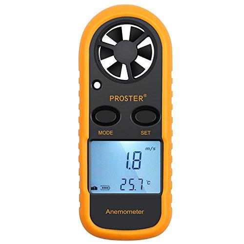 Proster Anemometro Digitale LCD Misuratore Velocità Vento Tester Velocità Flusso Aria Termometro con Retroilluminazione per Windsurf Aquilone Gara Vela Pesca