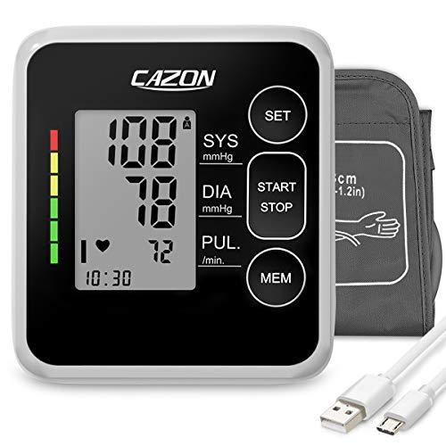 Cazon Misuratore di pressione sanguigna, misuratore di pressione sanguigna digitale automatica per uso domestico, misuratore di frequenza cardiaca con bracciale, 2 × 120 set di memoria (Black)