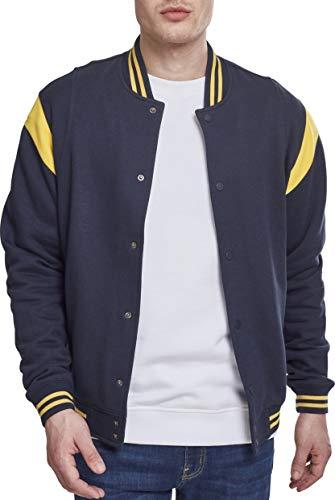 Urban Classics Inset College Sweat Jacket Giacca Sportiva, Multicolore (Navy/Chrome Yellow 01242), L Uomo