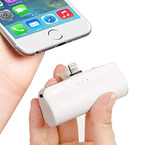 iWALK Batteria Esterna 3350mAh Ultra Compatta Power Bank Cavo Integrato Caricabatterie Portatile Compatibile per iPhone 12, 12 Mini, 12 PRO, 11, 11 PRO, XS, XR, 8, 8 Plus, 7, 7 Plus, 6S (Bianco)