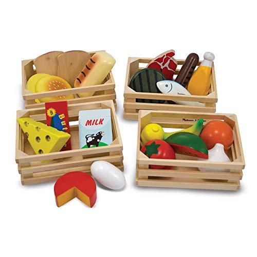 Melissa & Doug- Food Groups Set di Alimenti da Gioco in Legno, Gruppi Alimentari, Multicolore, 96041