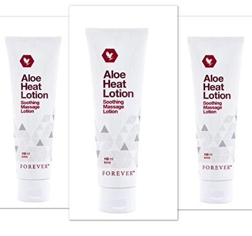 Forever Living Aloe Heat Lotion – Lozione riscaldante all'aloe per massaggi, 118 ml, 3 pezzi
