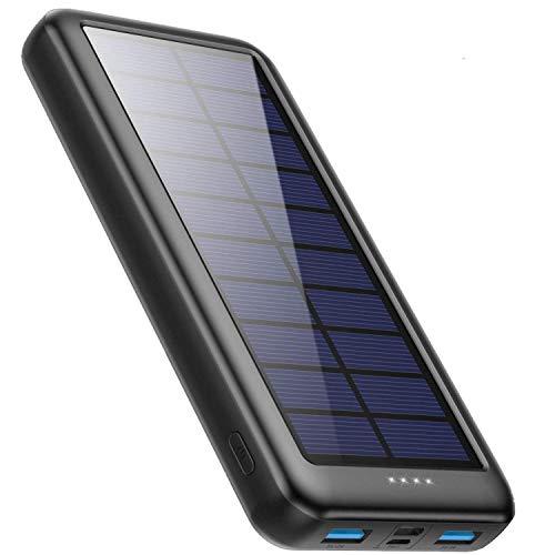 iPosible Powerbank Solare 26800mAh con USB C,�L'ultima S4】Caricabatterie Solare Portatile Caricatore Solare Batteria Esterna 3 ingressi e 2 uscite Ricarica Rapida per Cellulare iPad Tablets, Campeggio