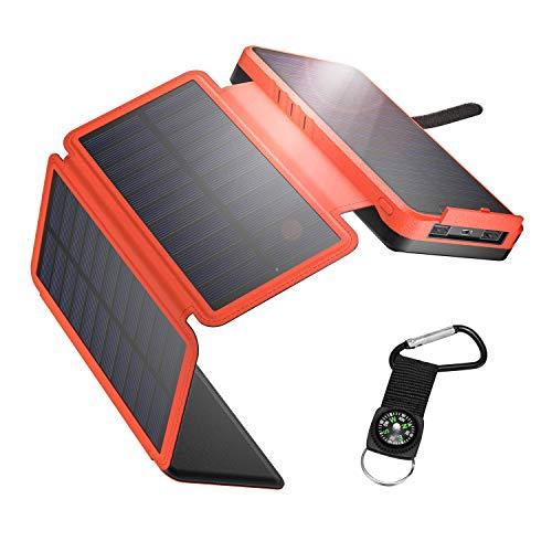IEsafy Powerbank Solare 26800mAh, Caricabatterie Solare Portatile con 4 Pannelli Solari Pieghevoli 2 Porte Ricarica Rapida Caricatore Solare Impermeabile per Cellulare/iPhone/iPad/Tablet (Arancia)