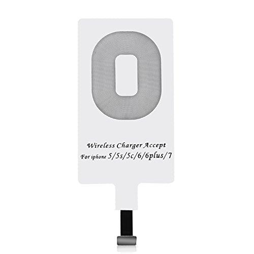 CHOETECH Ricevitore Qi iPhone, Ricevitore Caricabatterie Wireless Qi Ultraslim Compatibile con iPhone 7/7 Plus / 6/6 Plus / 5 / 5S / 5C