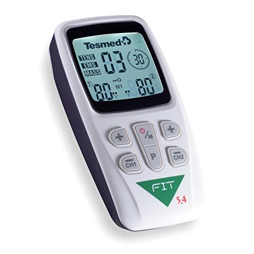 TESMED Fit 5.4 elettrostimolatore Muscolare, Massaggi, tens, Glutei, Addominali - 22 programmi Altamente specifici, 2 canali, 4 elettrodi