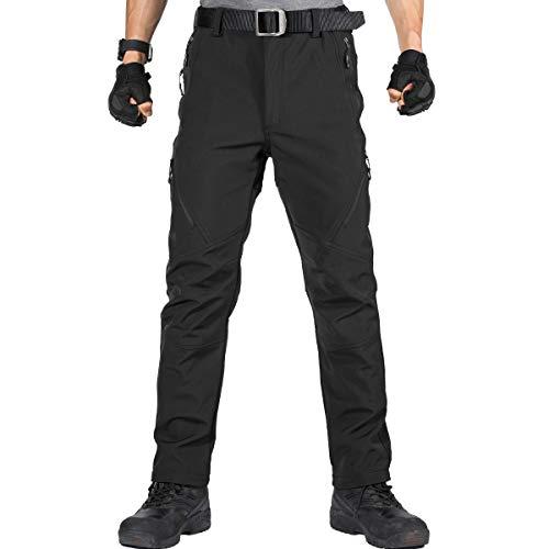 FREE SOLDIER Pantaloni da Lavoro da Uomo per attività All'aperto Pantaloni Softshell Sci Termici Impermeabile Pantaloni Trekking Invernali Pantaloni da Caccia(Nero,56)
