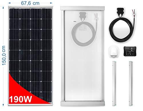 Pannello Solare 190W Monocristallino per Camper. Kit completo di Accessori per il montaggio e di Regolatore 20A