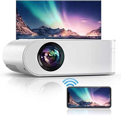 YABER Proiettore WiFi, 5800 Lumens Mini Videoproiettore Portatile 1080P Full HD[Schermo proiezione incluso]Mini Proiettore Wireless Home cinema Portatile per iOS/Android/Laptop/TV Box/PS4 ecc