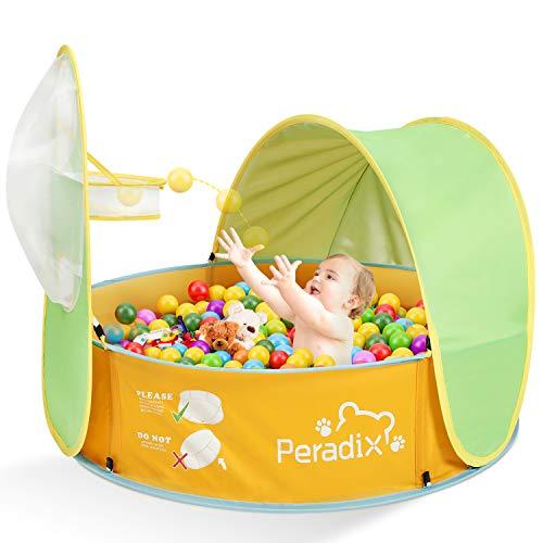 Peradix Tenda Spiaggia Bambini,2 in 1 Pop Up Tenda Pieghevole per Neonati Protezione Solare Anti-UV con Mini Piscina e Tettoia,Ball Pit con Canestro da Basket per Bambini Viaggio in Spiaggia