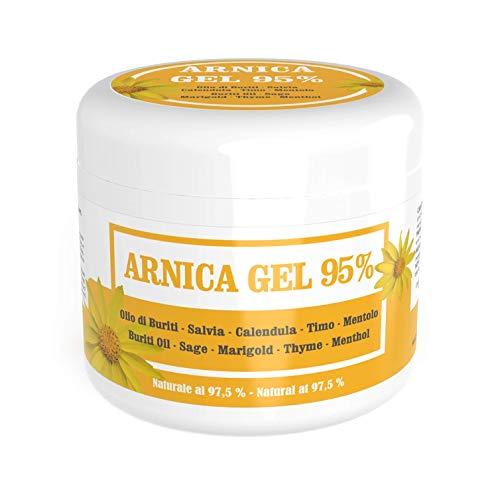 Arnica Gel per cavalli uso umano 95% - 500 ml - Gel lenitivo con Arnica Montana, Olio di Buriti, estratti di Salvia e Calendula, Olio Essenziale di Timo, e Mentolo - Naturale al 97,5%