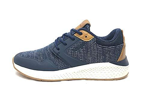 Wrangler WM01072 Sneaker Lacci Tessuto-Gomma Blu Pelle Cuoio W - Taglia Scarpa 40 EU Colore Blu-Cuoio