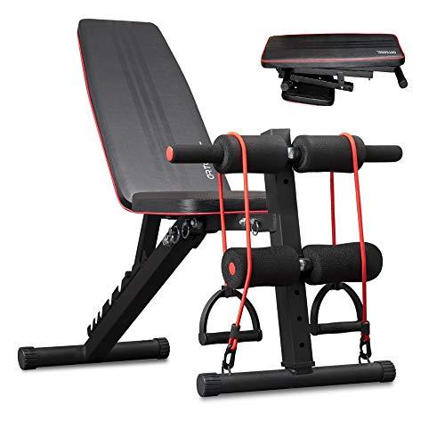 Arteesol - Panca per pesi pieghevole, panca per allenamento con pesi, panca multifunzione per allenamento completo (nero/rosso)