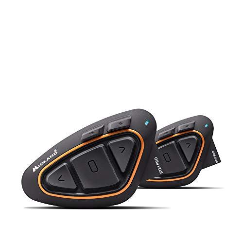 Midland BTX1 PRO Twin Interfono Moto Bluetooth Coppia, Auricolari Casco con Cancellazione del Rumore, Comunicazione Pilota Passeggero - 2 Auricolari