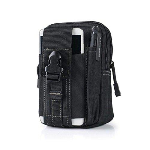 Astuccio multiuso tattico Molle, compatto EDC Utility Gadget Marsupio Pack per Sport Escursionismo Campeggio (nero)