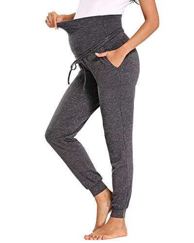 Love2Mi - Pantaloni premaman per gravidanza, con 2 tasche grigio tascabile. L