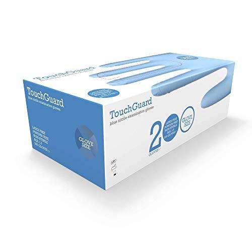 TouchGuard, Guanti monouso in nitrile, blu, senza lattice e senza talco, confezione da 200, taglia S