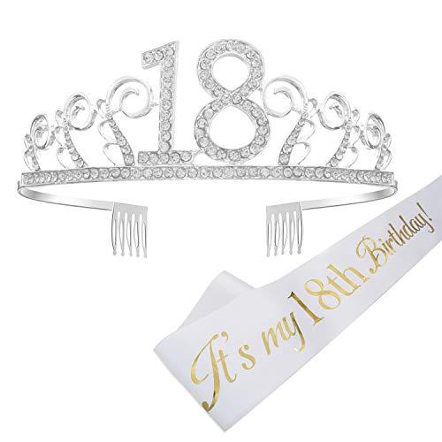 """REYOK 18 Anni di Compleanno Donna Tiara Birthday Corona 18 Compleanno Glitter Bianca """"Its My 18th Birthday� per Feste di Compleanno o Torte di Compleanno Decorazioni"""
