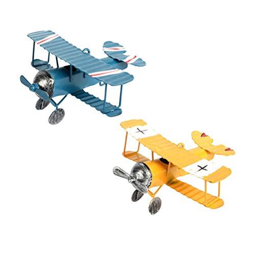 TOYANDONA 2Pcs Aereo Arredamento Vintage Mini Metallo Decorativi Aeroplano Modello per Bambini Gioco Puntelli Foto Desktop Decor (Blu Giallo)