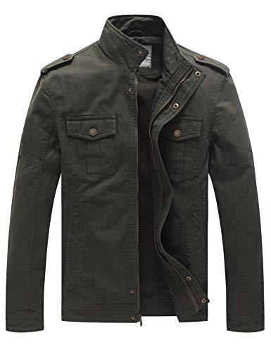 WenVen Giacca Militare Classica in Cotone Giubbotto con Zip Antivento Cappotto Leggero Autunnale Giaccone Casual Tempo Libero Uomo Verde Militare XL