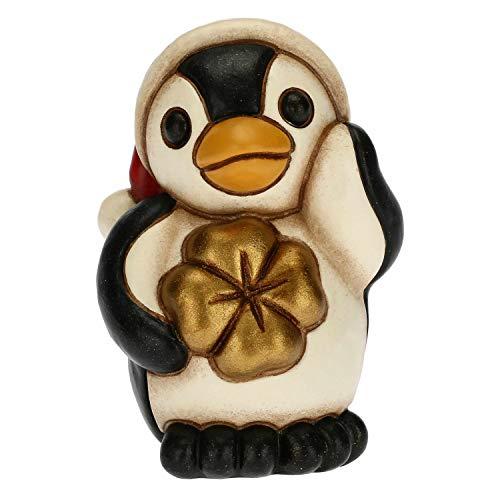 THUN - Soprammobile Pinguino con Cappellino Natalizio - Accessori per la Casa da Collezionare - Formato Mini - Ceramica - 4 x 3,3 x 5,5 h cm