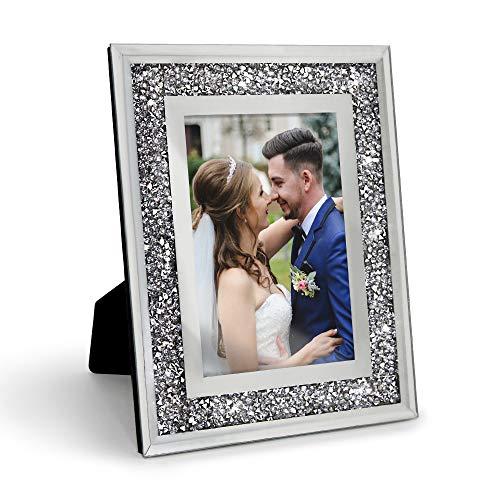 Afuly Cornice portafoto 10x15 cm Argento Glitter Diamante Bicchiere Cornice Cristallo Rispecchiato Sparkle Ornamento Nozze Regalo