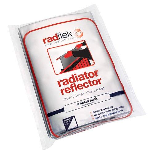 Radflek - Pannelli termoriflettenti per termosifoni, con strisce adesive termoriflettenti Radstik, confezione da 3 pannelli + 2 strisce Radstik