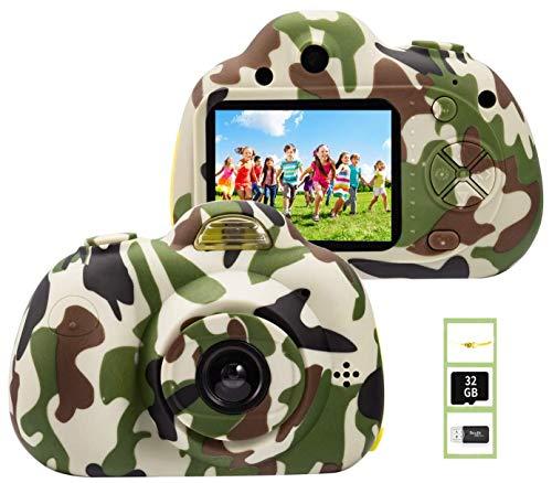 YunLone ToyZoom 1080P HD Bambini Fotocamera Selfie Macchina Fotografica 18MP Videocamera con Scheda 32 GB Regalo Compleanno per Bambini (Verde)