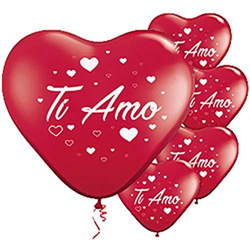 ocballoons Palloncini a Forma di Cuore Rosso Ti Amo 16 PZ San Valentino Festa Evento Cerimonia Decorazione allestimento Romantico Amore