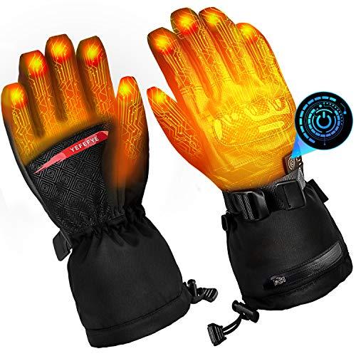 SHAALEK Guanti Riscaldati per Uomo E Donna, Guanti Riscaldati da Moto, 7.4 V 5000 mAh 5 Livelli di Controllo della Temperatura e Guanti per Batterie Touchscreen, Funziona Fino a 6-13 Ore (Nero)