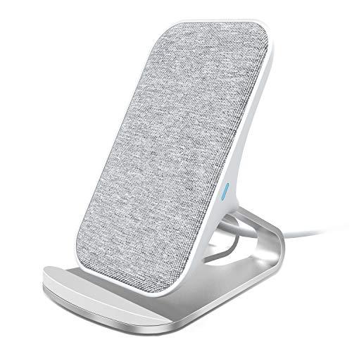 Lecone Caricatore Wireless con Tessuto, Supporto di Ricarica Wireless Qi per iPhone 11/XR/XS Max/XS/X/SE 2020, 10W Ricarica Rapida per Samsung Galaxy S20/S10/Note10/S9/S9+/S8+/Nota 9 Grigio