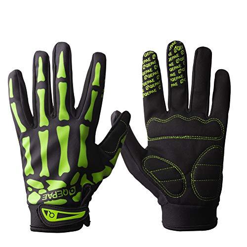 Tofern Uomo Guanti Dito Pieno Caldo per Invernali Antivento Bici Ciclismo Moto, Green M (Larghezza Palm 7-8cm)