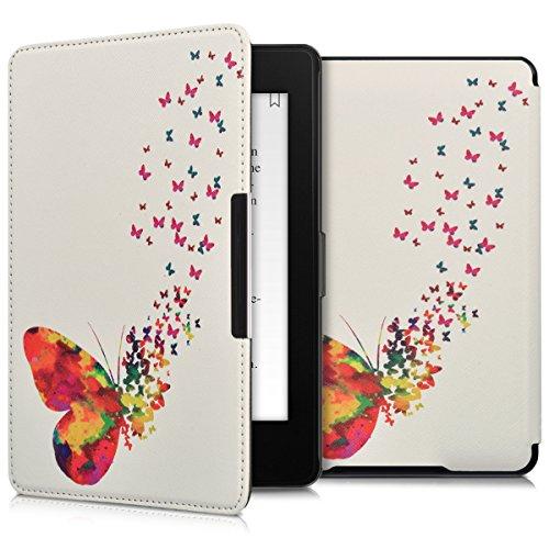 kwmobile Custodia Compatibile con Amazon Kindle Paperwhite - Cover in Simil Pelle Magnetica Flip Case per eReader Multicolore/Fucsia/Bianco