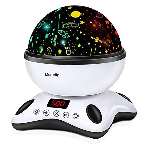 Moredig - Proiettore Stelle Bambini, 360° Rotazione Musicale Proiettore Lampada con lo Schermo a Led e Telecomando, 8 Modalità Romantica Luce Notturna, Regalo per Neonati, Bambini (Nero e Bianco)