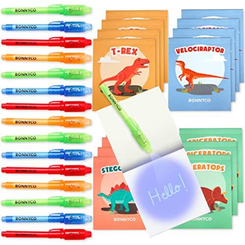BONNYCO Penna Invisibile e Taccuino, 16 Pezzi Dinosauri Gadget Compleanno Bambini, Bomboniere Compleanno, Giocattoli Pignatta | Regalini Fine Festa Compleanno Bambino | Gadget Bambini Dinosauri