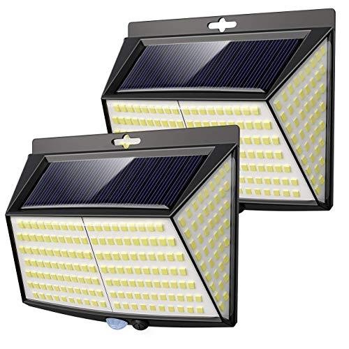 Luce Solare LED Esterno, �2 Pezzi 228 LED】Vighep Luci Solari Lampade Faretti Solari a LED da Esterno Sensore di Movimento IP65 Impermeabile 3 Modalità per Giardino Parete Wireless Risparmio Energetico