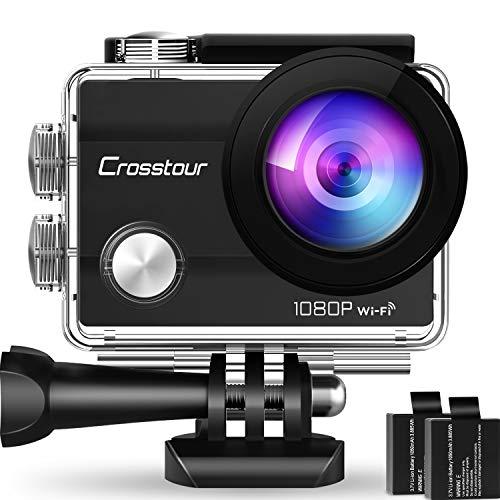 Crosstour Action Cam, Sport WiFi Camera 14MP 2�LCD Full HD Impermeabile 2 Batterie 1050mAh 170°Grandangolare e Kit Accessori per Ciclismo Nuoto e Altri Sport Esterni