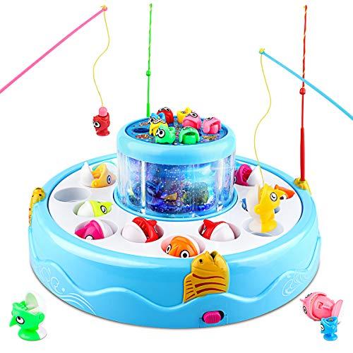 Baztoy Pesca Pesciolini Gioco Magnetico, Pesci Giocattoli per Bammini con Canne da Pesca & Luci & Musica Gadget Compleanno Regali Ragazzi Ragazze 3 4 5 6 7 Anni Bimbi Giochi Educativi Interattivi